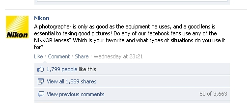 Comment from Nikon's Facebook page