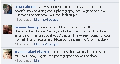Comments on NIkons facebook page