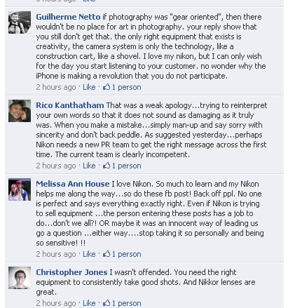 Comments on Nikon's facebook page
